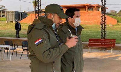 Mario Abdo Benítez se encuentra desde este miércoles en la sede del Centro de Comando de Operaciones de Defensa, en la ciudad de Concepción. Foto: IP