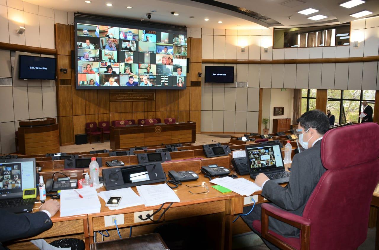 Sesión virtual de la Cámara de Senadores. Foto: Senado.