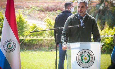 Desde Caaguazú, Mario Abdo Benítez, se refirió a los sucesos de Yby Jaú. Foto: Presidencia.