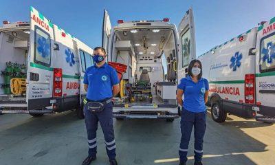 Ambulancias de la previsional. Foto: Gentileza