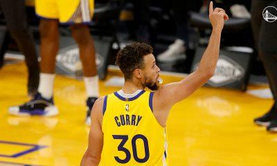 La estrella de Golden State firmó 30 puntos (4/6 t2, 5/12 t3 y 7/7 tl), nueve rebotes y ocho asistencias para liderar el triunfo de su equipo. Foto: @warriors.