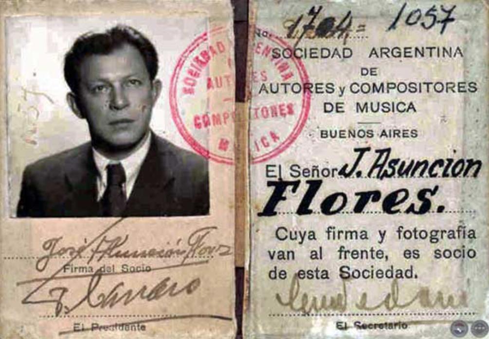 José Asunción Flores, carnet de SADAIC (Archivo)