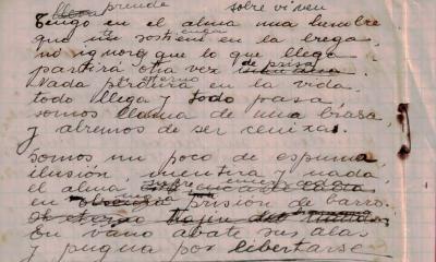 Ida Talavera, manuscrito (Cortesía Fundación Ida Talavera)