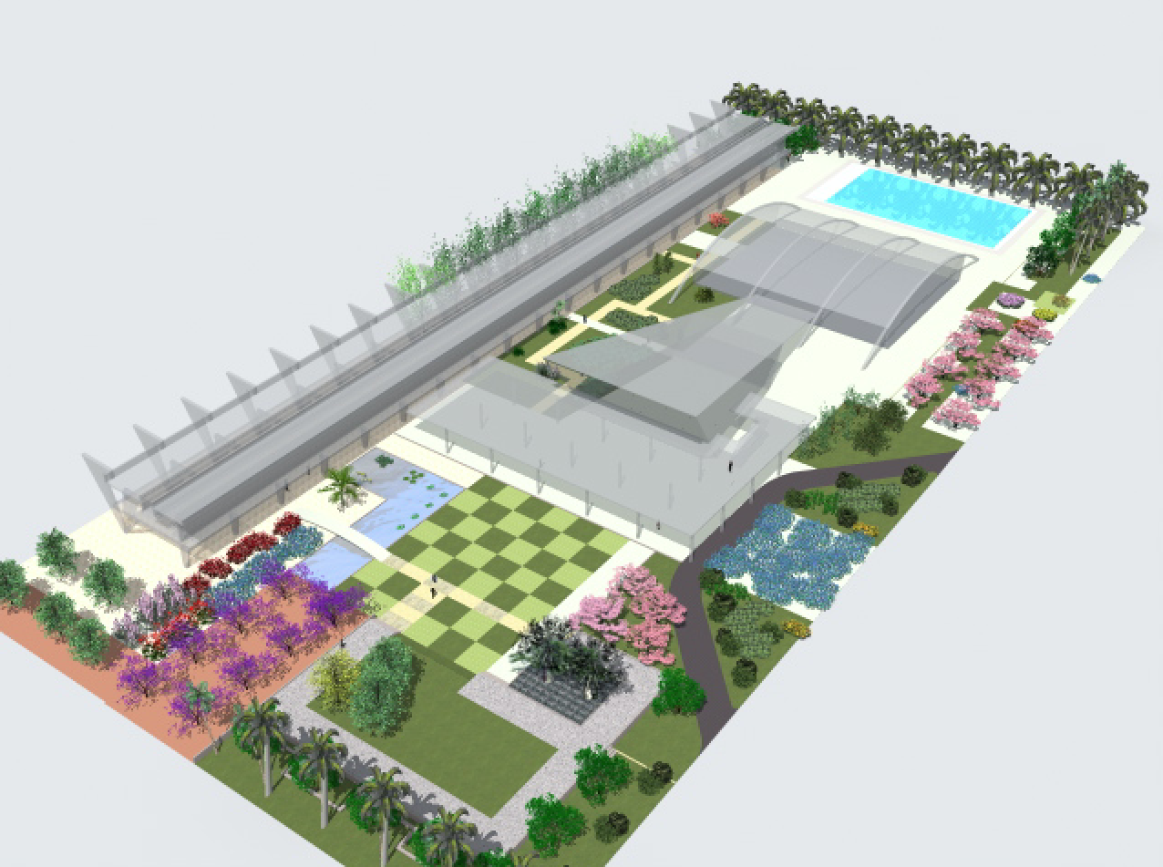 Colegio Experimental Paraguay-Brasil. Diseño de jardines de Roberto Burle Marx