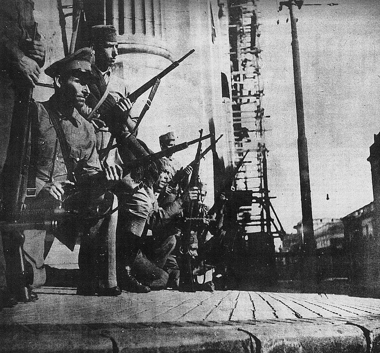 Calle Colón, revolución de 1947. A noite, mayo 1947