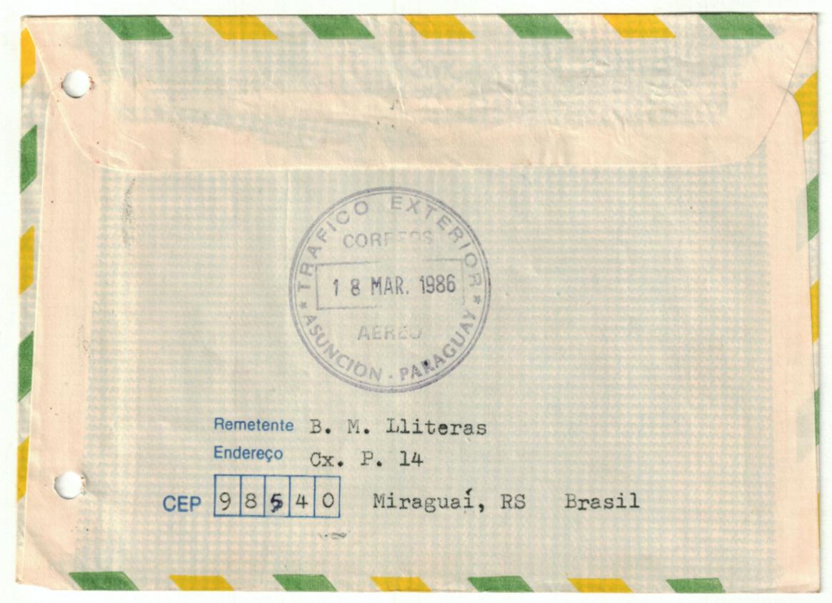 Carta de Bartomeu Melià a Chase-Sardi desde su exilio en Brasil. Colección Chase-Sardi, Biblioteca Cervantes, CCEJS © Fredy Fretes