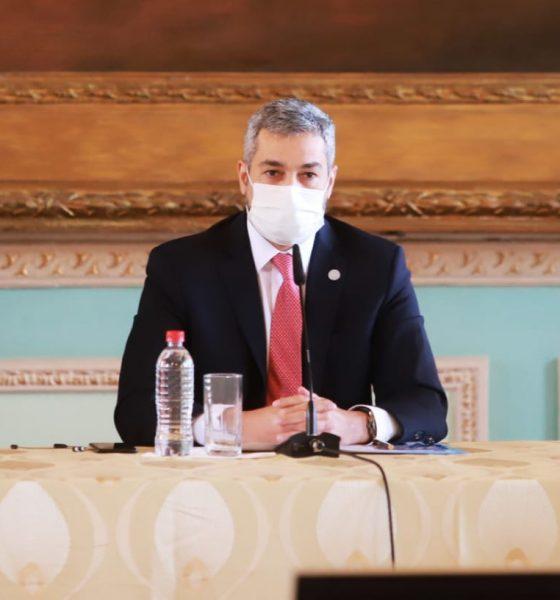 El presidente Mario Abdo Benítez habló hoy en conferencia de prensa. Foto: IP Paraguay.