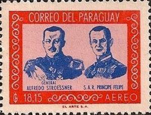 Estampilla del Correo paraguayo en homenaje a la visita del Príncipe Felipe.