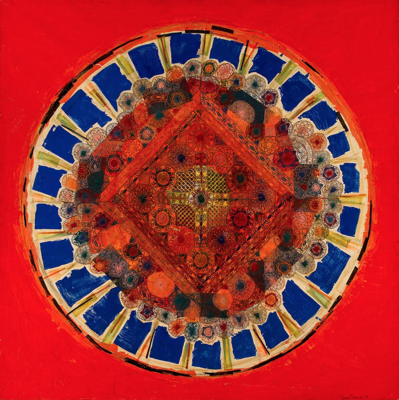 Laura Márquez, Ñandutí de la Victoria, 1965, técnica mixta, 149.9 cm x 149.9 cm. Cortesía