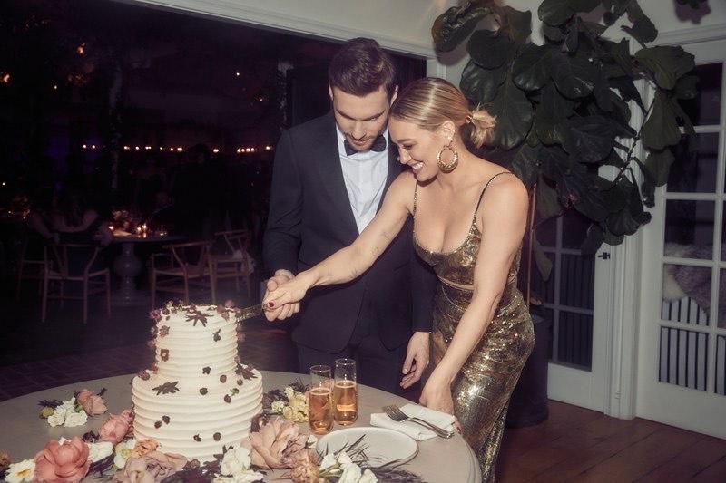 Hilary Duff con aros Zaldivar, el día de su boda. Foto: Gentileza.