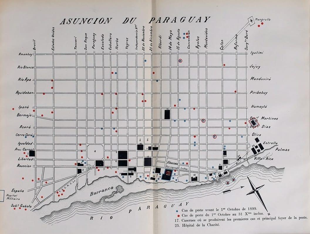Mapa de la distribución de casos de peste bubónica en Asunción, elaborado por la misión médica argentina dirigida por el Dr. Carlos Malbrán, 1900