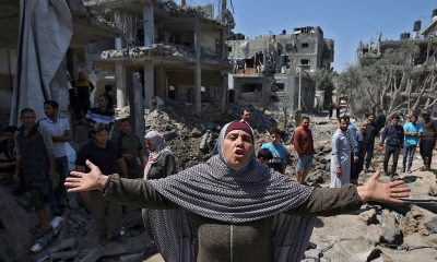 Palestinos huyen de sus hogares. Foto: Télam.