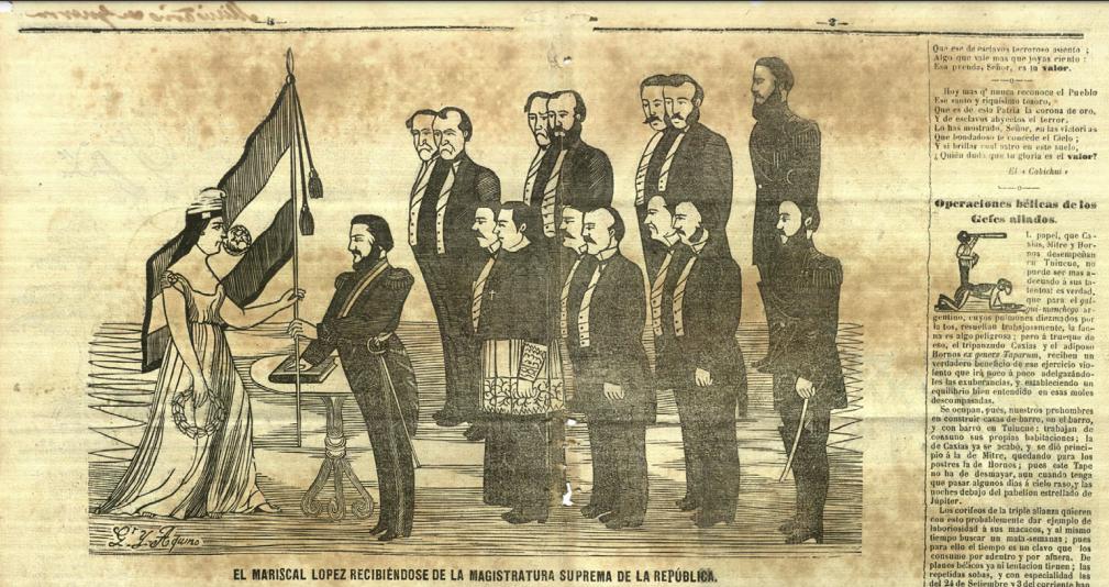 : La representación femenina de la patria no era nueva en el Paraguay. En la imagen, el juramento presidencial de López ante la Patria. Cabichu'i, Nº 47, 16 de octubre de 1867. Colección Biblioteca Nacional digital