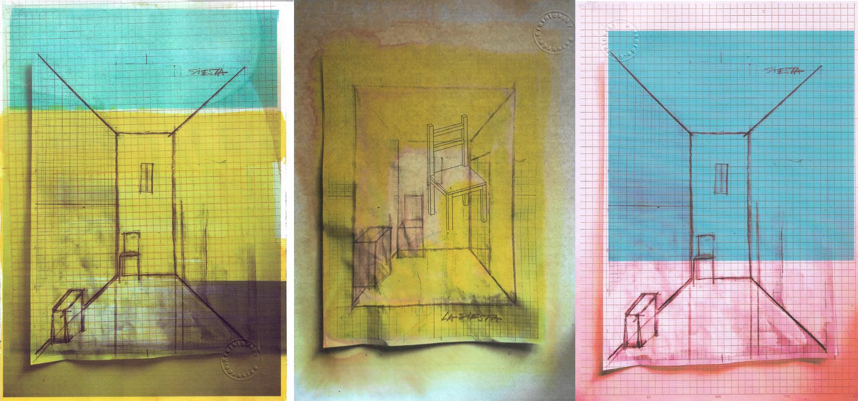 Bocetos de Bernardo Krasniansky para su instalación La siesta. Colección Félix Toranzos