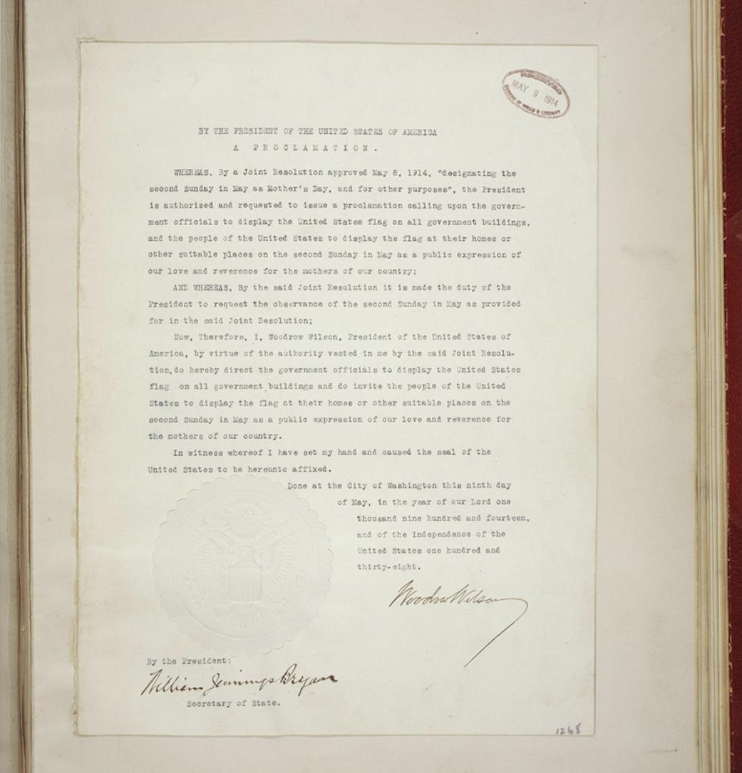 """Resolución del presidente Woodrow Wilson que establece el """"Día de la madre"""" en Estados Unidos, 1914"""
