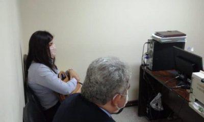 Los acusados Justo y Patricia Ferreira durante la audiencia. Foto: judiciales-net