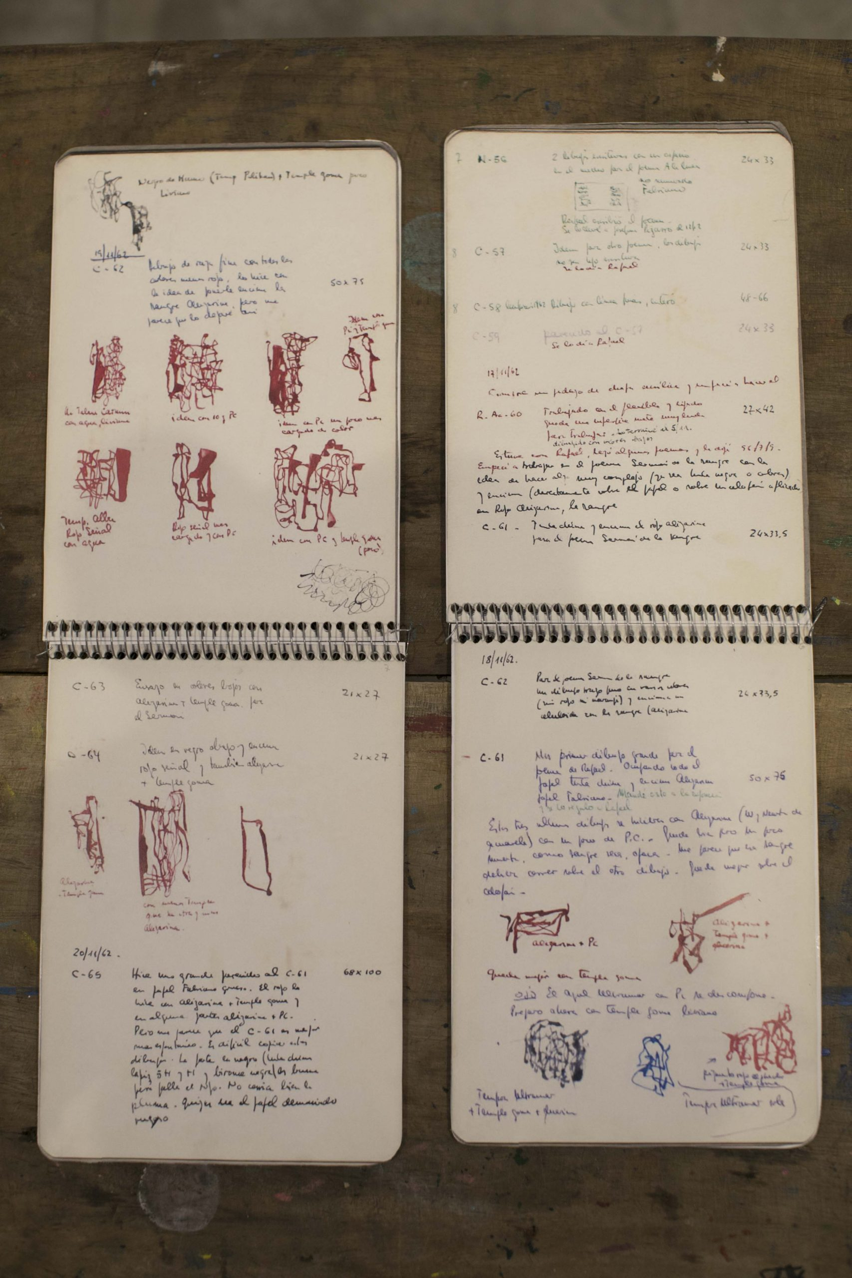 León Ferrari, cuadernos personales. Registro del proceso de creación de Sermón de la sangre,1962 © Laura Mandelik