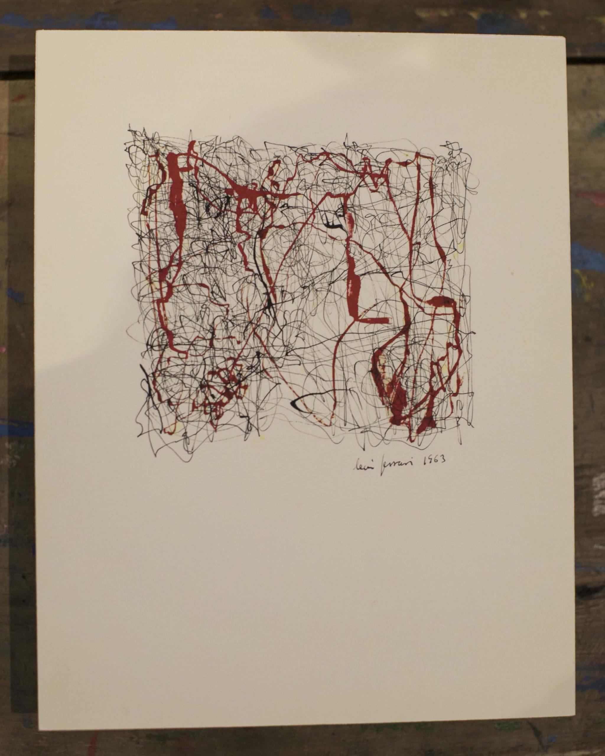 León Ferrari, Sin título, dibujo inspirado en el poema Sermón de la sangre de Rafael Alberti, tinta china sobre papel, 1963 © Laura Mandelik
