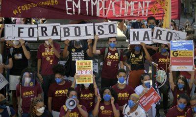 """Las protestas para pedir el """"Fora Bolsonaro"""" sorprendieron por su tamaño en todo el país. Foto: Télam."""