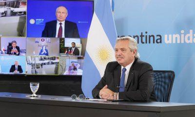 Alberto Fernández, en la videoconferencia con Vladimir Putin. Foto: Télam.