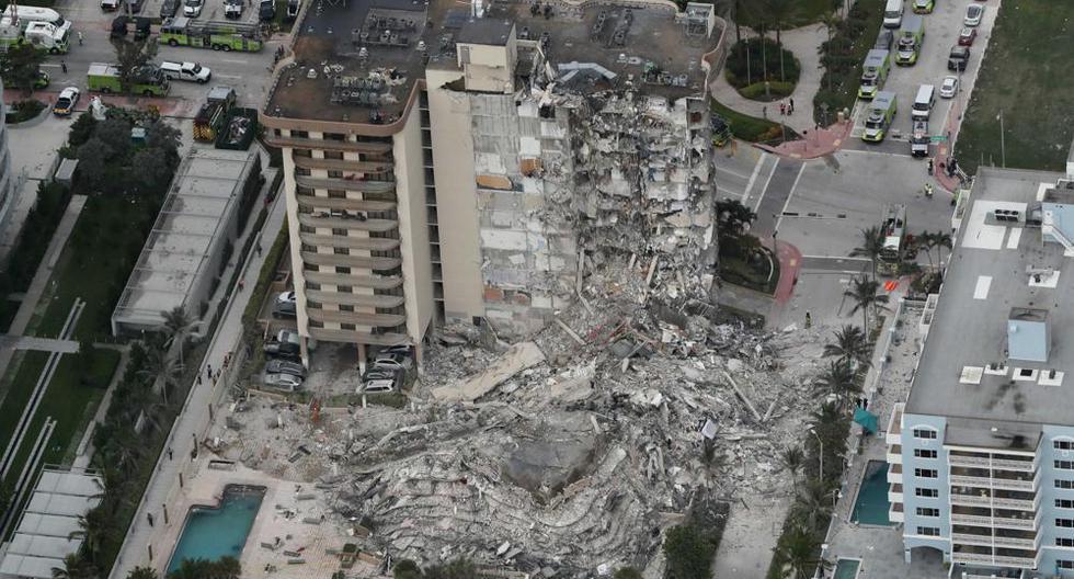 Vista aérea del edificio colapsado. Foto: Agencias.