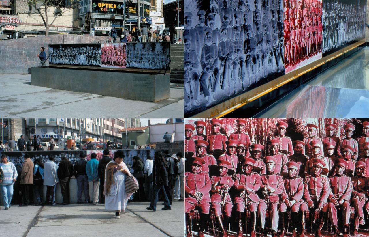 Batallón 60, 2002 Intervención urbana. Caja de metal, espejos, agua, fotografía impresa. Plaza de los Héroes, La Paz, Bolivia © Leonardo Mamani
