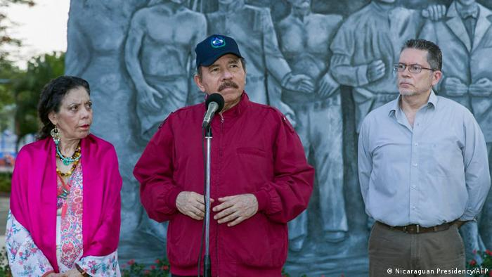 Daniel Ortega, presidente de Nicaragua, junto a Rosario Murillo, la primera dama. Foto: Agencias.