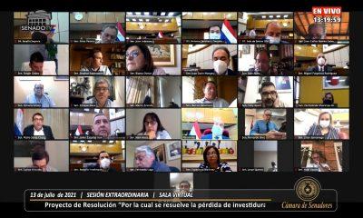 Sesión extraordinaria de la Cámara de Senadores. Foto: Gentileza.