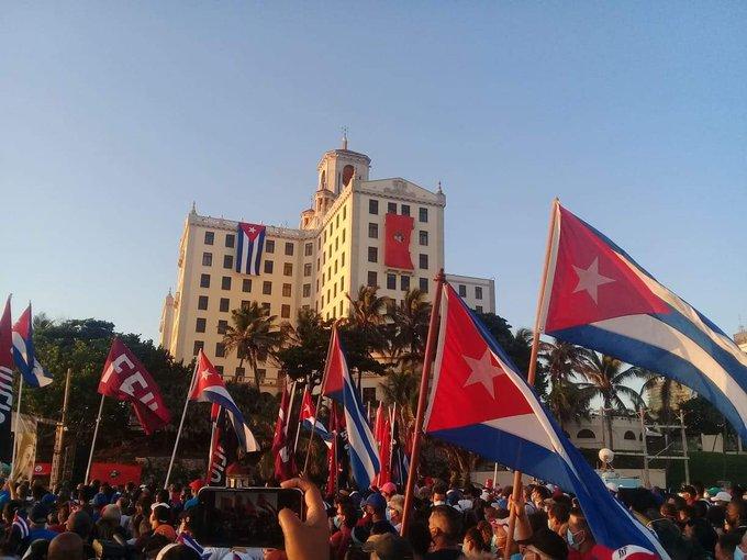 Las imagenes de la manifestación progubernamental se filtraron vía redes sociales. Foto: Twitter.