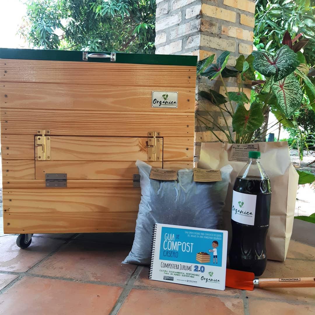 Caja Compostera con un kit de arranque que te permite procesar 100 litros de residuos.Foto: Orgánica Bioemprendimientos.