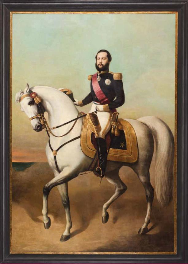 Bernardet (atribuido). Retrato escuestre del Mariscal Fracisco Solano López, ca. 1865. Cortesía