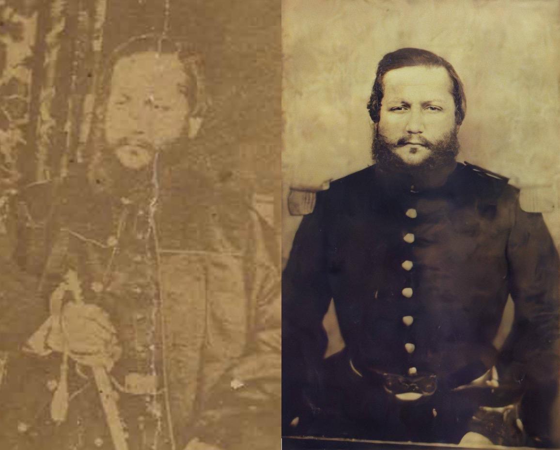 Retrato del Mariscal López, ca. 1870. Carte de visite. Colección CAV/Museo del Barro. Cortesía. Retrato del Mariscal López, imagen retocada digitalmente por Richard Careaga. Cortesía