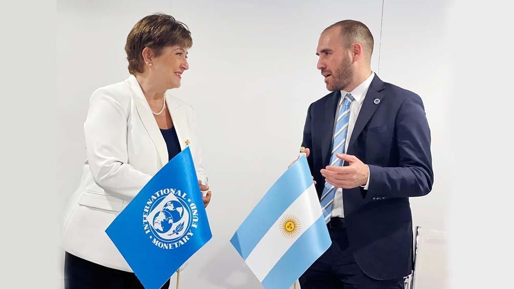El ministro de Economía y la titular del FMI, Kiristalina Georgieva. Foto: Télam.Martín Guzmán y