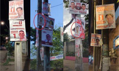 Decenas de carteles cuelgan de las columnas y cables del tendido eléctrico. Foto: Gentileza.