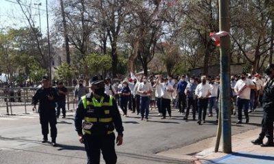 Durante la manifestación. (Foto PMT).