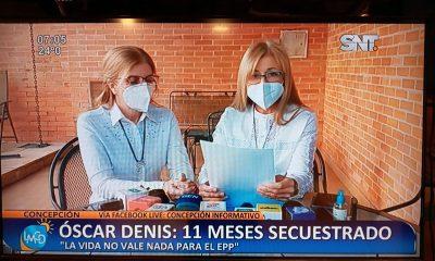 Hijas de Óscar Denis en conferencia. (Foto captura SNT).