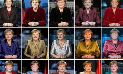 La canciller en los discursos de Año Nuevo entre 2005 y 2019: la era Merkel termina a fines de 2021. Foto: EPA.