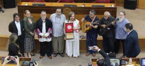Raquel Rojas, exponentes del teatro y parlamentarios. Cortesía.