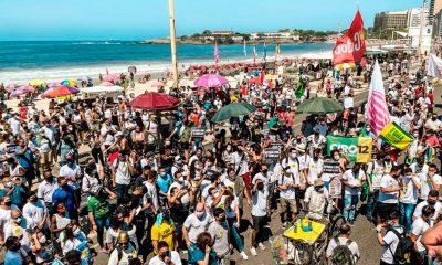Las movilizaciones para reclamar la salida del presidente brasileño fueron convocadas por el Movimento Brasil Livre y Vem Pra Rua. Foto: Télam.