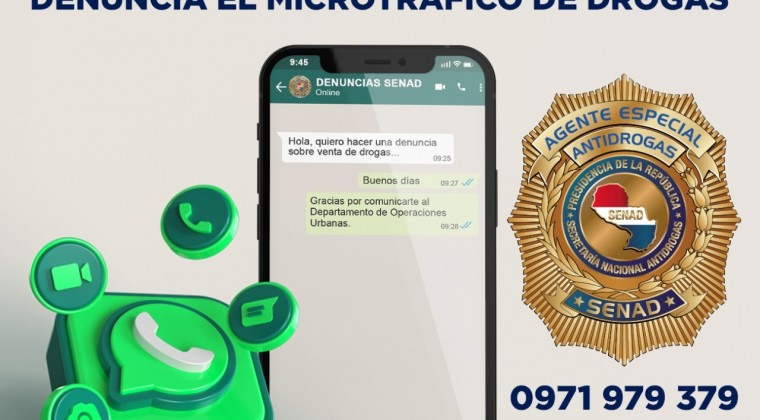 El número que la Senad habilitó para que la ciudadanía realice las denuncias. (Foto Twitter)