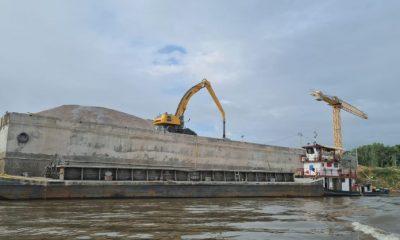 Obras de dragado en el Río Paraguay. Foto MOPC.
