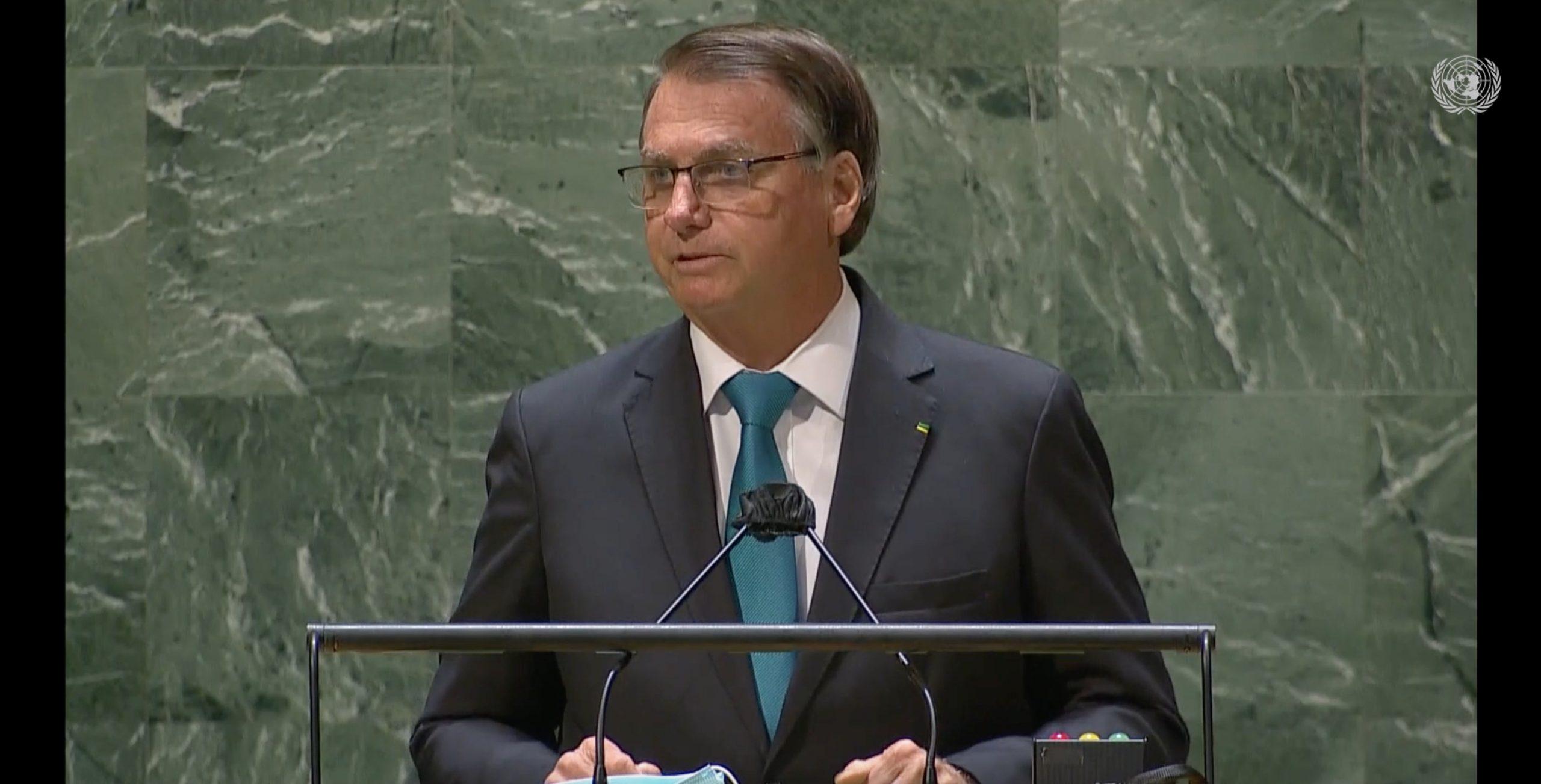 El presidente de Brasil, Jair Bolsonaro, durante su discurso ante la Asamblea General de las Naciones Unidas. Foto: Naciones Unidas.