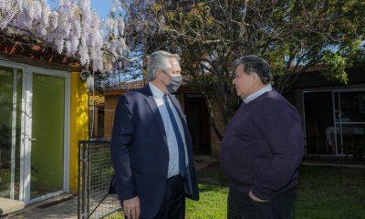Alberto Fernández se reunió con el intendente de José C. Paz, Mario Ishii. Foto: Infobae.