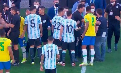 El partirod de Brasil-Argentina se paró a las 4 minutos de juego. Foto: Captura.