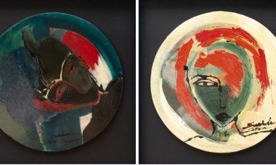 """Eneide Boneu, """"Sin título"""", 2021. Esmalte sobre madera, 50 cm ∅. Cortesía"""
