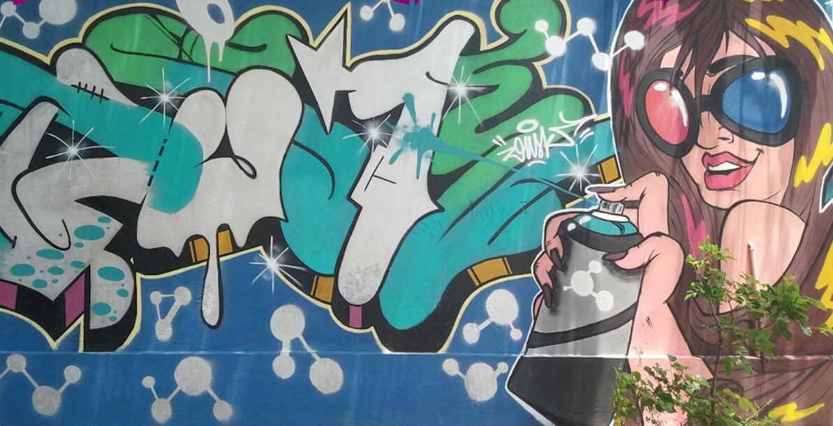 Mural colectivo, Skinny Fest. Vol. 2 - 2017. Dusk (letras), @dabliu.one (dibujo). Cortesía