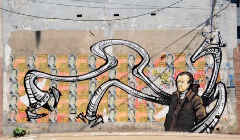 Mural. Proyecto Héroes de la Dependencia. Idea de Yuki Yshizuka, realización de Rolo Ocampos. Cortesía