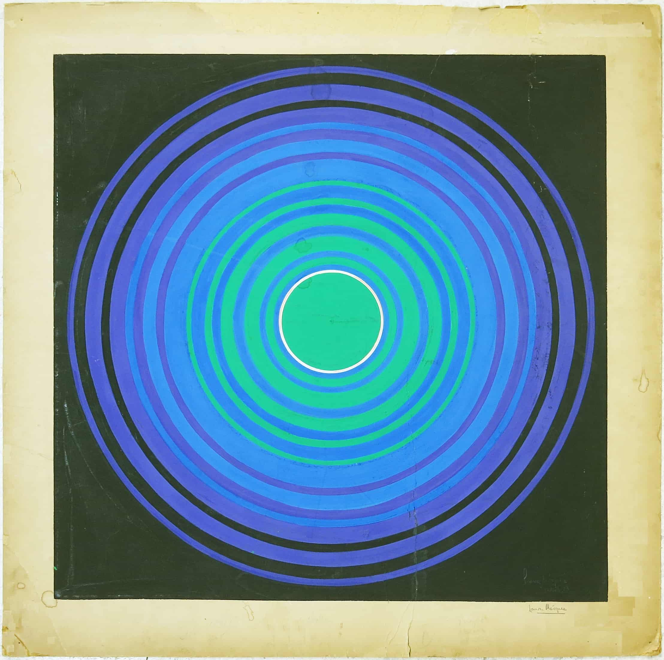 Laura Márquez. Último adiós en Ezeiza, 1973. Técnica mixta, 51 x 51 cm. Colección Galería Exaedro. Cortesía