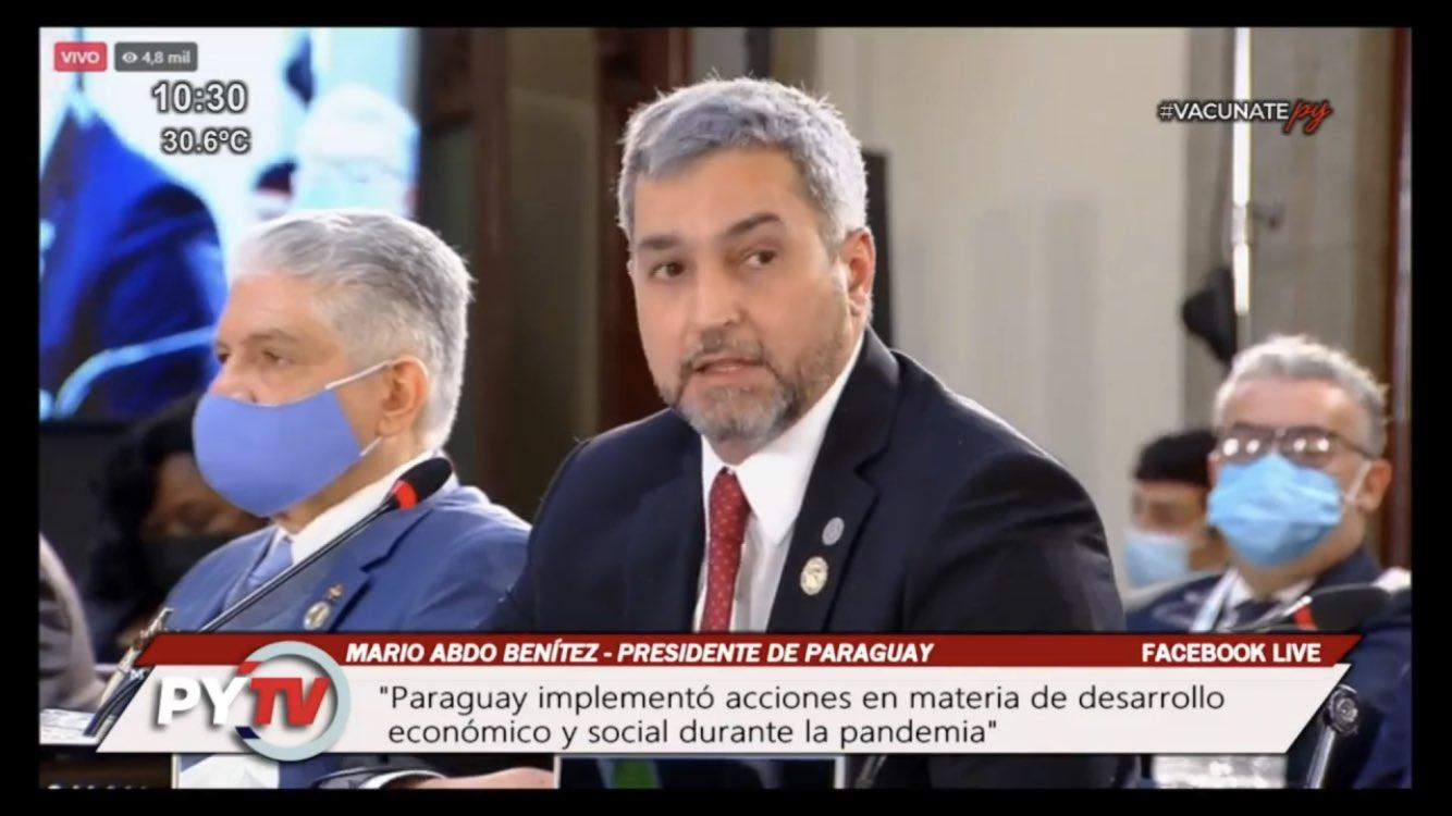 Mario Abdo durante su intervención en Cumbre de la Celac. Foto: Captura.