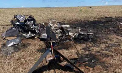 El helicóptero transportaba droga, según los intervinientes. (Foto Acrítica)